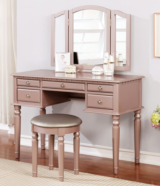 Poundex F4060 3 pc rose gold finish wood make up bedroom vanity set with curved legs stool and tri fold mirror with multiple drawers