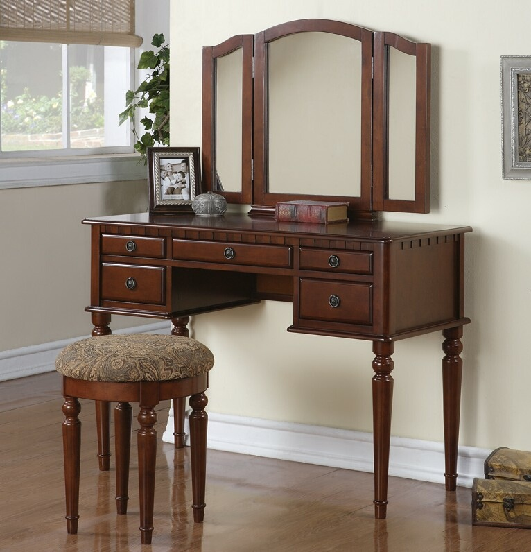 F4071 3 pc Cherry brown finish wood make up bedroom vanity set with curved legs stool and tri fold mirror with multiple drawers