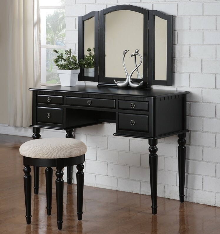 F4072 3 pc Black finish wood make up bedroom vanity set with curved legs stool and tri fold mirror with multiple drawers