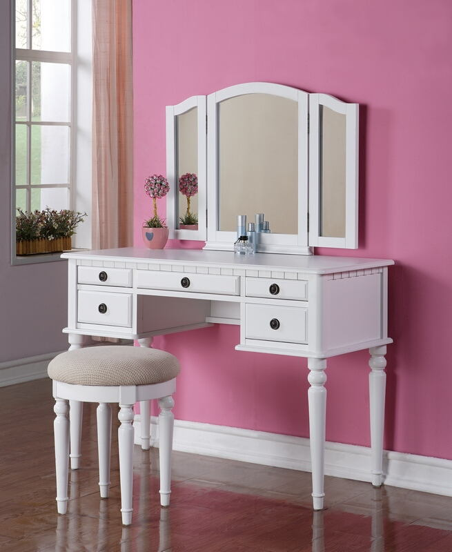F4074 3 pc white finish wood make up bedroom vanity set with curved legs stool and tri fold mirror with multiple drawers