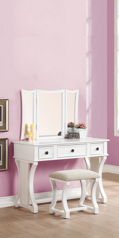 F4119 3 pc white finish wood make up bedroom vanity set with curved pedestal legs stool and tri fold mirror with three drawers