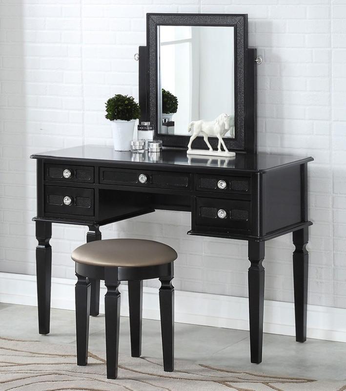 Poundex F4180 3 pc galaxy black finish wood make up bedroom vanity set