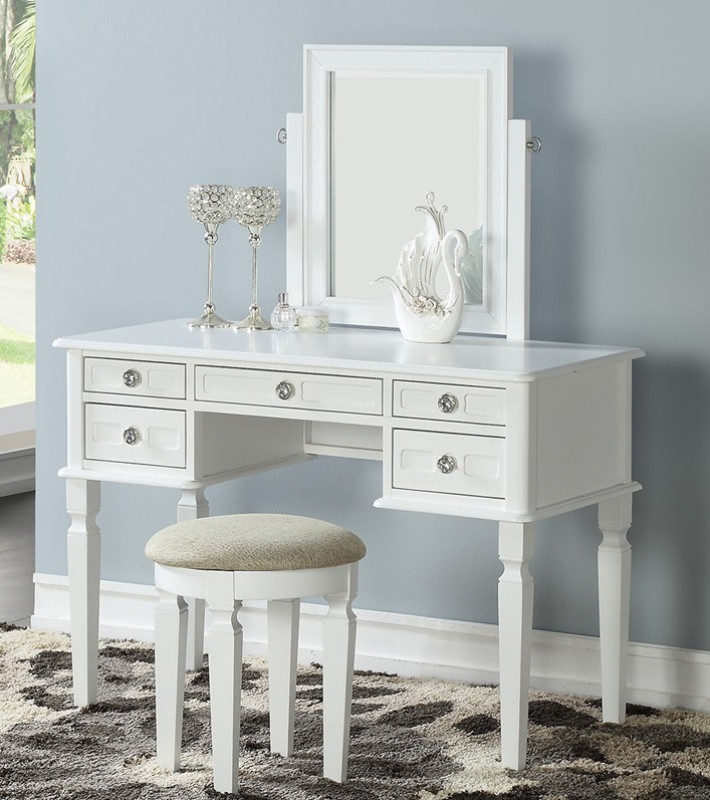 Poundex F4181 3 Pc White Finish Wood Make Up Bedroom Vanity Set Multiple Drawers Curved Legs