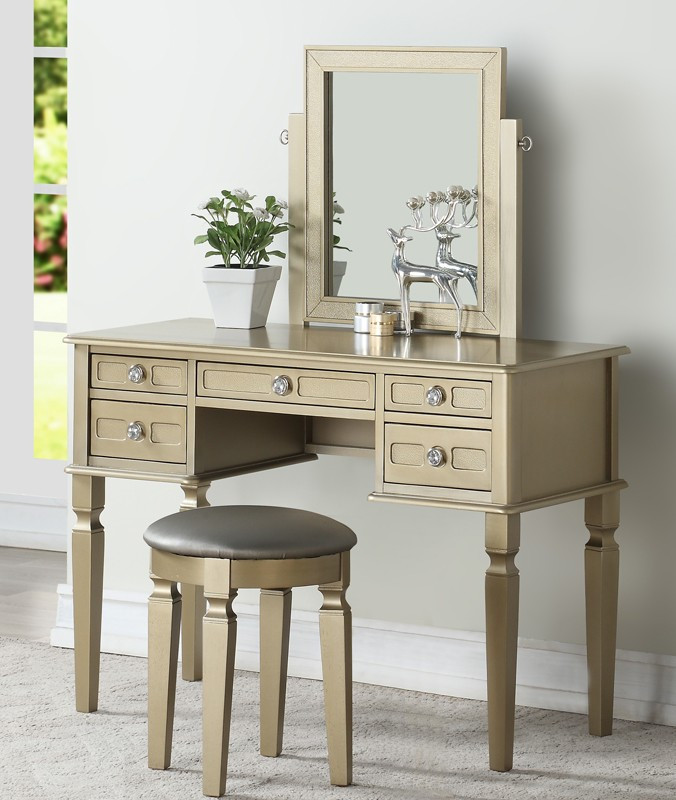 """3 pc champagne finish wood make up bedroom vanity set multiple drawers curved legs, stool, mirror.  This set comes with the Vanity table with multiple drawers, Mirror and the vanity stool. Measures 43"""" x 19"""" x 53"""" H. Some assembly required. Also available"""
