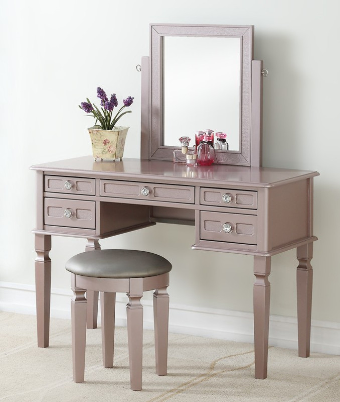 Poundex F4186 3 pc rose gold finish wood make up bedroom vanity set multiple drawers curved legs, stool, mirror