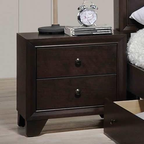 Poundex F4861 Morgan II dark brown natural finish wood 2 drawer nightstand