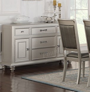 Poundex F6034 Silverstry II collection silver tone finish wood side server buffet