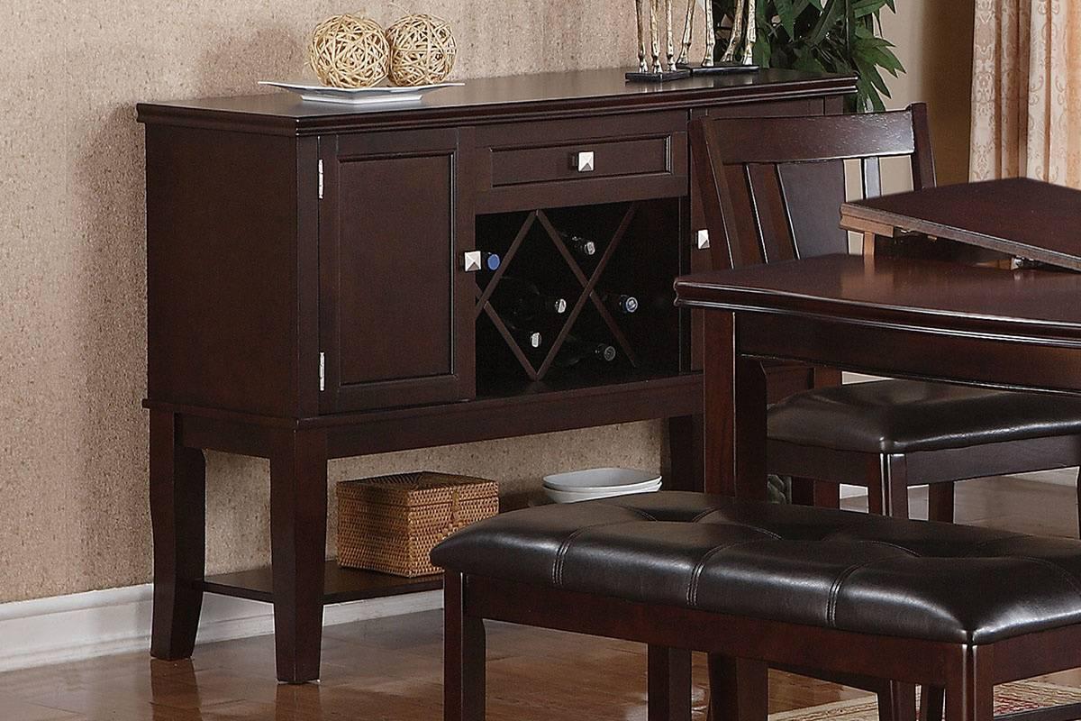 Poundex F6056 Adele maddison ii walnut finish wood dining server buffet console