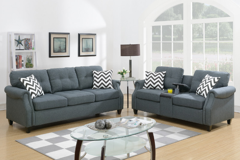 Poundex F6411 2 pc Colleen blue grey linen like fabric sofa and love seat set with drink console