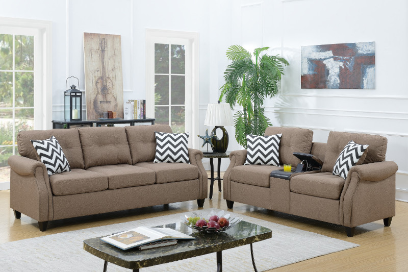 Poundex F6412 2 pc Colleen light coffee linen like fabric sofa and love seat set with drink console