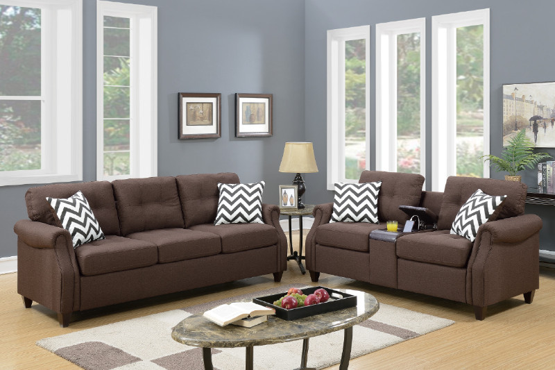 Poundex F6413 2 pc Colleen dark coffee linen like fabric sofa and love seat set with drink console