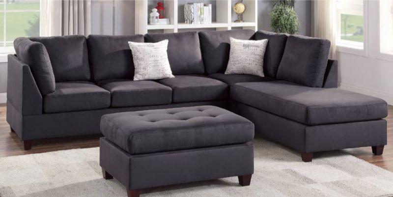 Poundex F6423 3 pc Red barrel studio lauria ebony plush microfiber fabric sectional sofa reversible chaise and ottoman