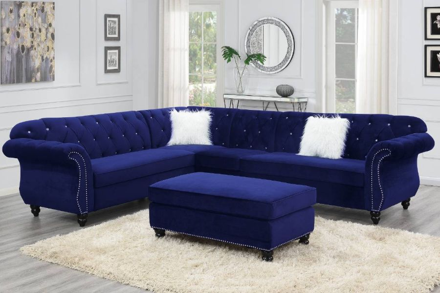 Poundex F6434 4 pc jolanda gene indigo velvet fabric sectional sofa with tufted backs