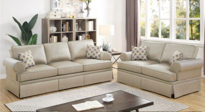 Poundex F6442 2 pc Charlton home warrick beige glossy polyfiber sofa and love seat set
