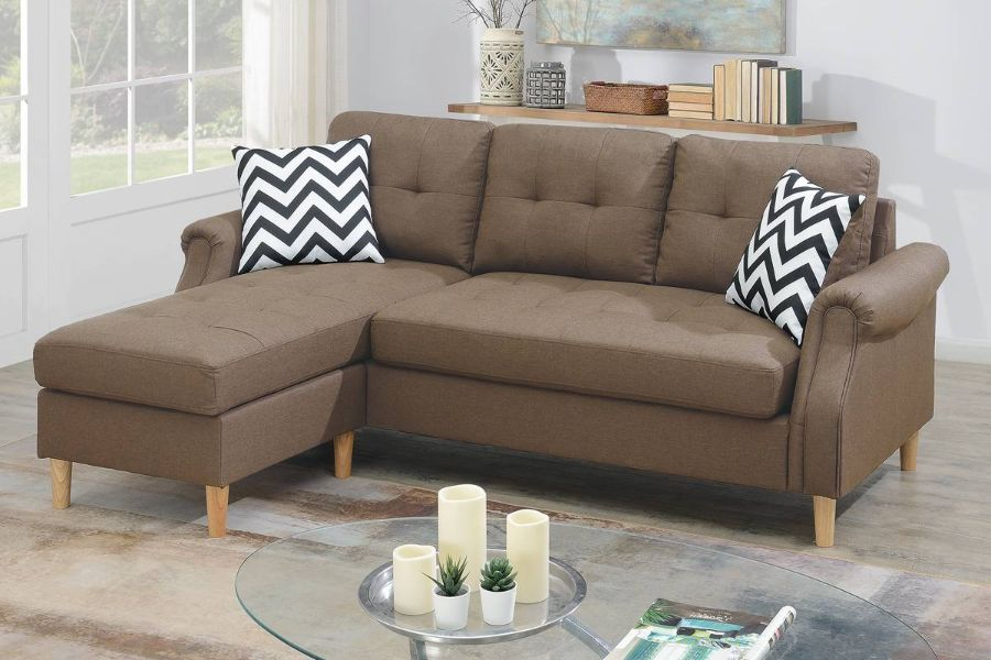 Poundex F6458 2 pc leta light coffee polyfiber fabric apartment size sectional sofa reversible chaise
