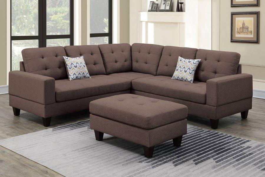 Poundex F6471 3 pc Biloxi dark coffee polyfiber fabric sectional sofa and ottoman