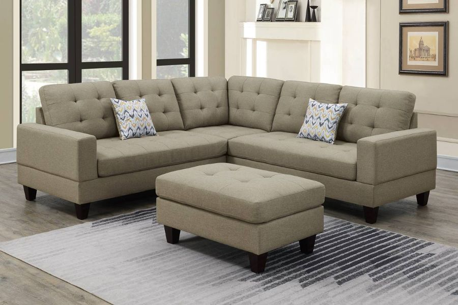 Poundex F6473 3 pc Biloxi beige polyfiber fabric sectional sofa and ottoman