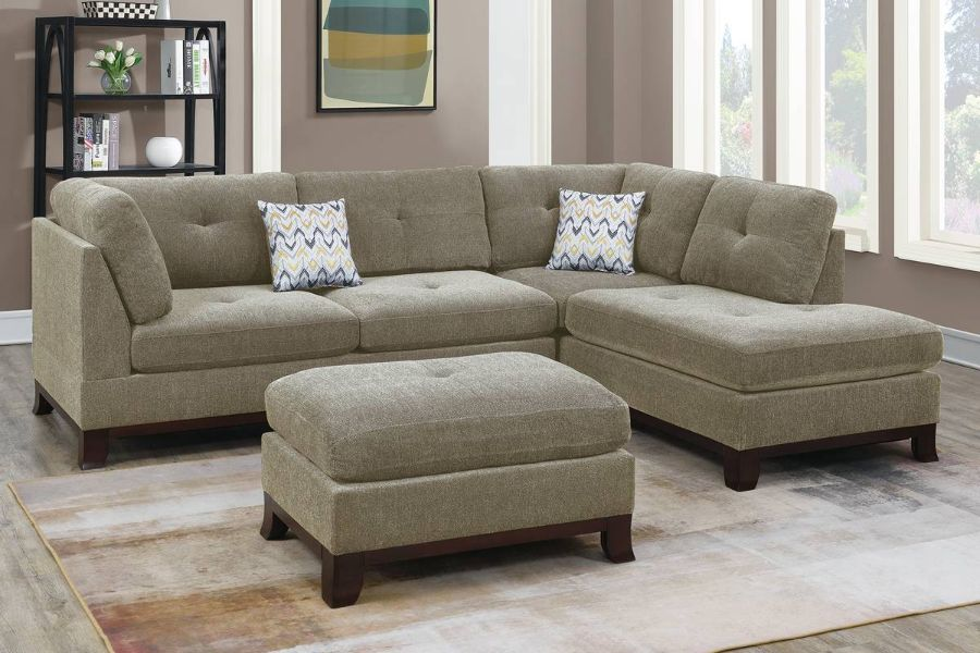 Poundex F6478 3 pc Canora gene camel chenille fabric reversible chaise sectional sofa and ottoman