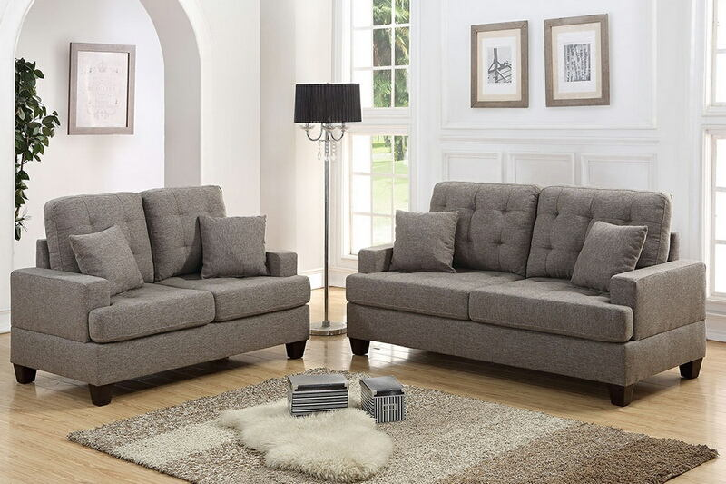 F6501 2 pc Collette II collection coffee linen like fabric upholstered sofa and love seat set