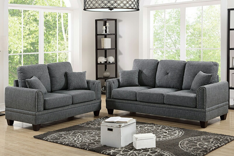 F6507 2 pc Pallisades collection ash black cotton blended fabric upholstered sofa and love seat set with nail head trim