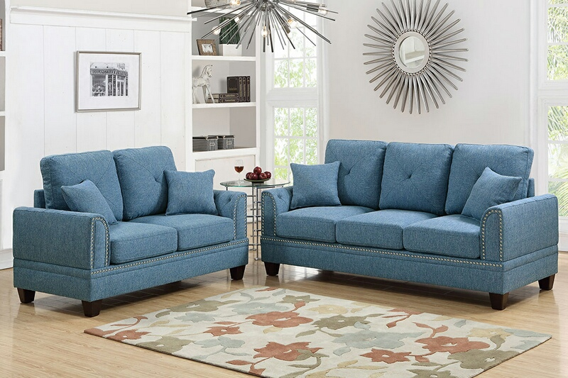 F6508 2 pc Pallisades collection blue cotton blended fabric upholstered sofa and love seat set with nail head trim