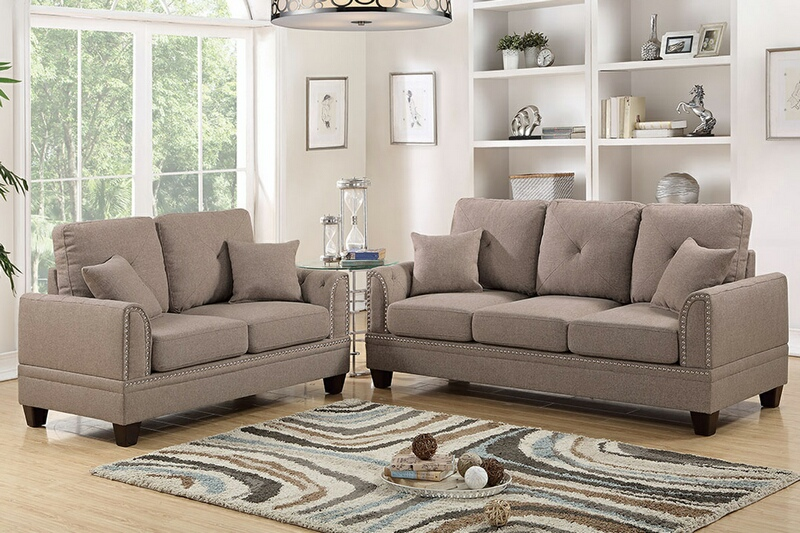 F6509 2 pc Pallisades collection coffee cotton blended fabric upholstered sofa and love seat set with nail head trim