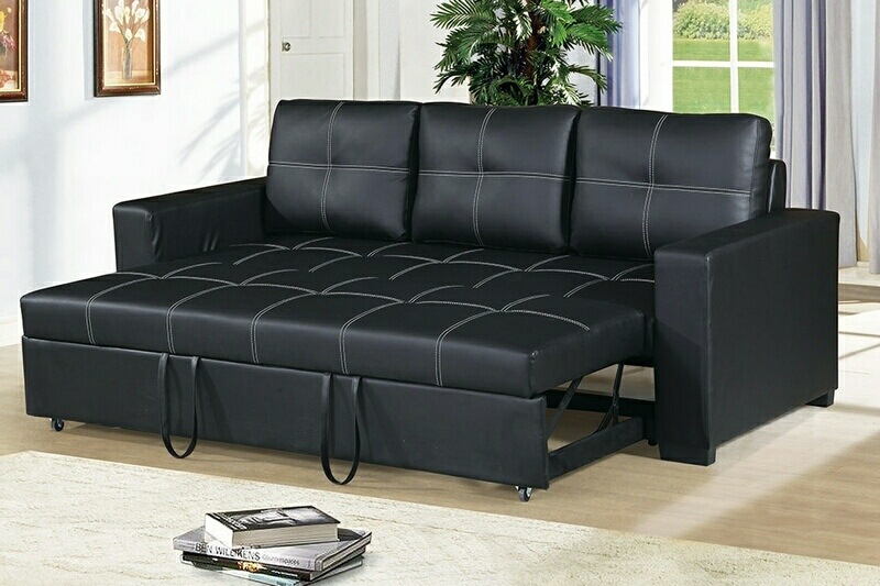 F6530 2 pc Daryl II collection black faux leather upholstered sofa set with pull out sleep area