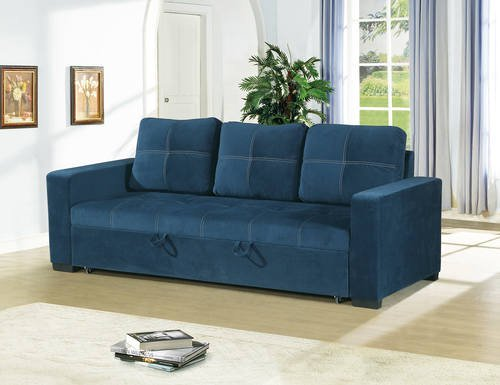 F6531 2 pc Daryl II collection navy linen like fabric upholstered sofa set with pull out sleep area