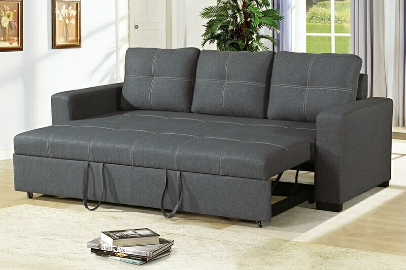 F6532 2 pc Daryl II collection blue grey linen like fabric upholstered sofa set with pull out sleep area