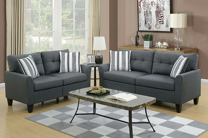 F6533 2 pc Collette II collection charcoal glossy polyfiber fabric upholstered sofa and love seat set