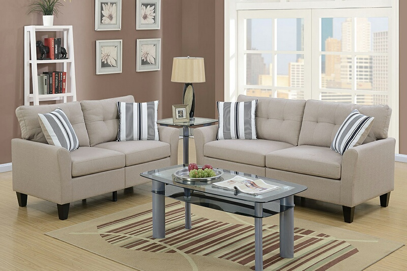 F6534 2 pc Collette II collection beige glossy polyfiber fabric upholstered sofa and love seat set