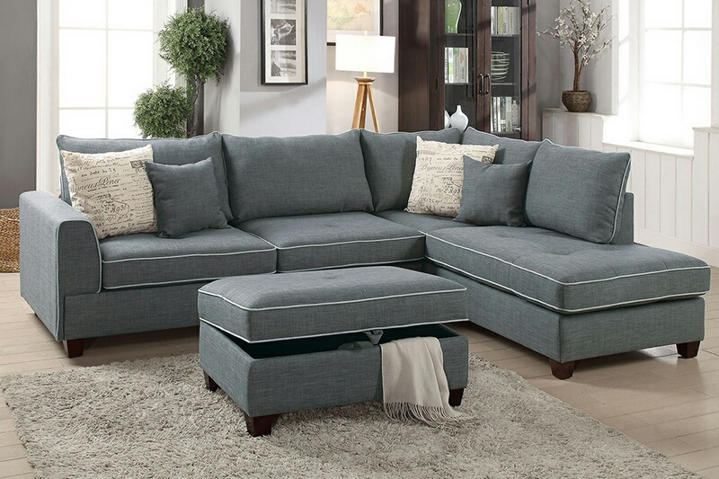 F6542 3 pc Cleveland collection steel color woven fabric upholstered sectional sofa with reversible chaise and storage ottoman
