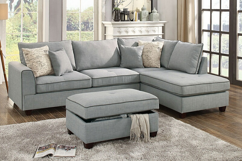 F6543 3 pc Cleveland collection light grey woven fabric upholstered sectional sofa with reversible chaise and storage ottoman