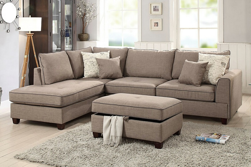 F6544 3 pc Cleveland collection mocha woven fabric upholstered sectional sofa with reversible chaise and storage ottoman