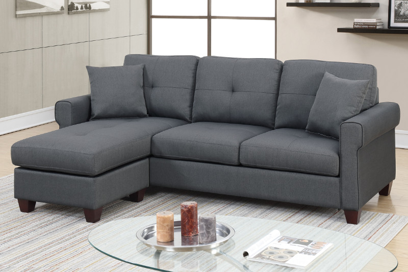 Poundex F6571 2 pc leta charcoal glossy polyfiber fabric apartment size  sectional sofa reversible chaise