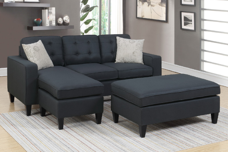Poundex F6575 2 pc Ebern designs cray daryl black linen like fabric reversible chaise sectional sofa set ottoman