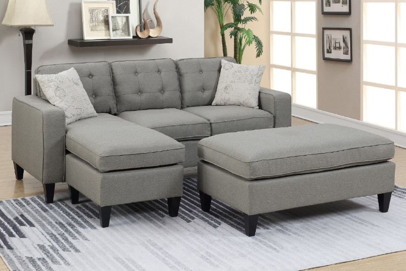 Poundex F6576 2 pc Latitude run gustav daryl light grey linen like fabric  reversible chaise sectional sofa set ottoman