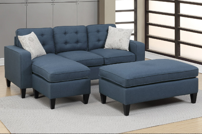 Poundex F6577 2 pc Ebern designs cray daryl navy linen like fabric reversible chaise sectional sofa set ottoman