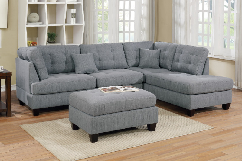 Poundex F6581 3 pc Latitude run dracaena martinique grey linen like fabric sectional sofa with reversible chaise and ottoman