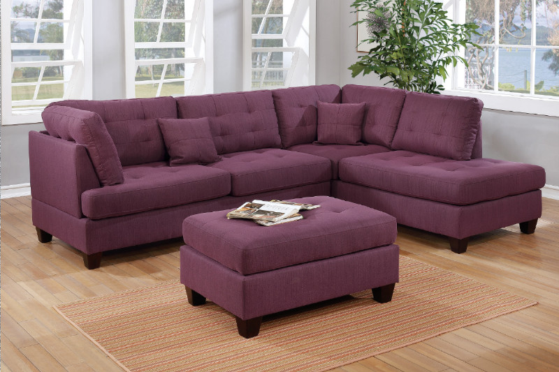 Fantastic Poundex F6583 3 Pc Ebern Designs Carncastle Martinique Warm Purple Linen Like Fabric Sectional Sofa With Reversible Chaise And Ottoman Ibusinesslaw Wood Chair Design Ideas Ibusinesslaworg