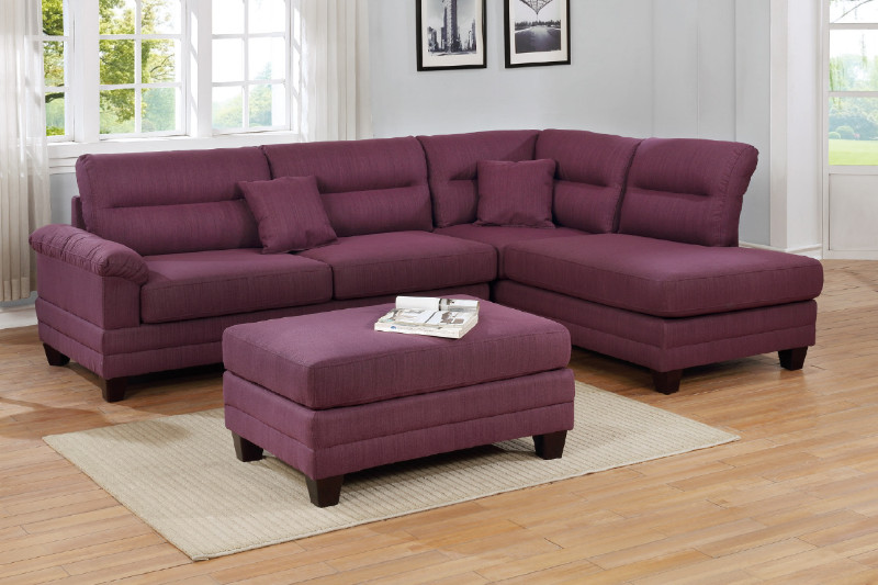 Sensational Poundex F6587 3 Pc Martinique Warm Purple Linen Like Fabric Sectional Sofa With Reversible Chaise And Ottoman Ibusinesslaw Wood Chair Design Ideas Ibusinesslaworg