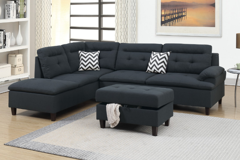 Poundex F6588 3 pc martinique II black linen like fabric sectional sofa  reversible chaise and storage ottoman