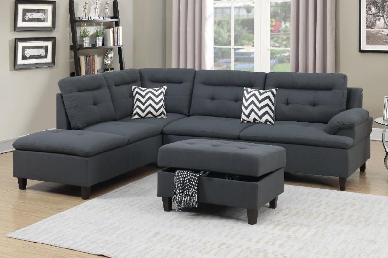 F6590 3 Pc Martinique Ii Charcoal Linen Like Fabric Sectional Sofa