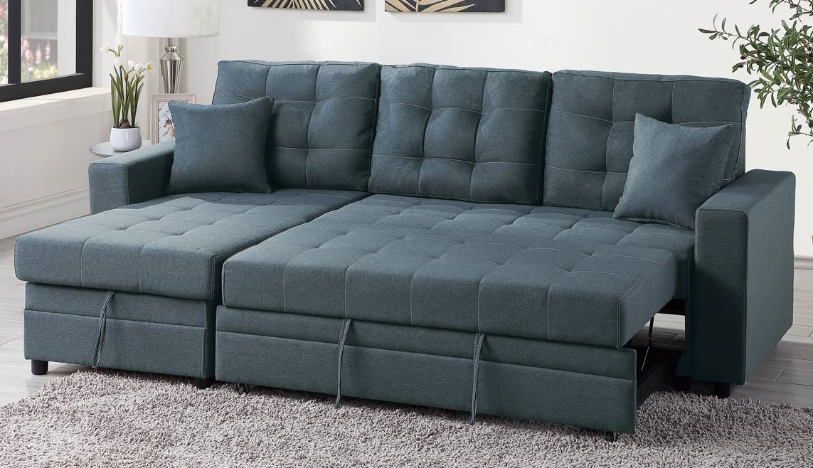 Poundex F6593 2 pc Latitude Run Venters blue grey polyfiber sectional sofa set pull out sleep area with chaise