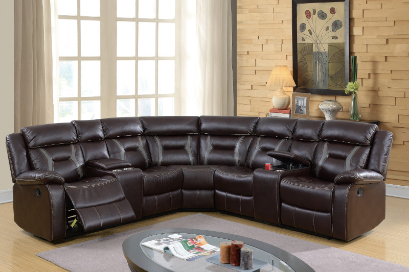 Poundex F6649 3 pc collette II dark brown gel leatherette sectional sofa  with consoles and recliners