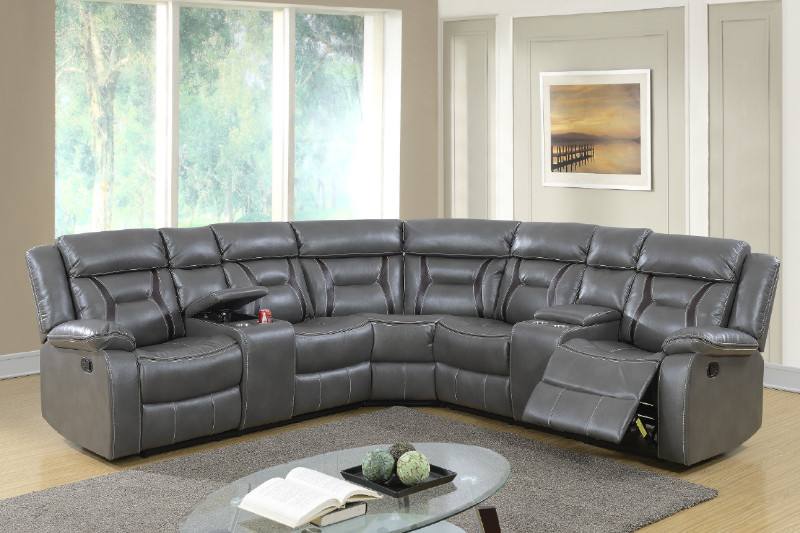Poundex F6650 3 pc collette II grey gel leatherette sectional sofa with consoles and recliners