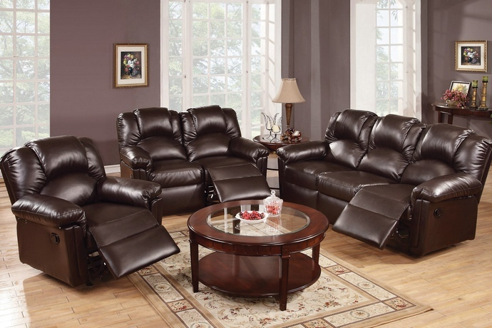 F6675-74 2 pc Halifax II collection espresso bonded leather upholstery sofa and love seat set with recliner ends