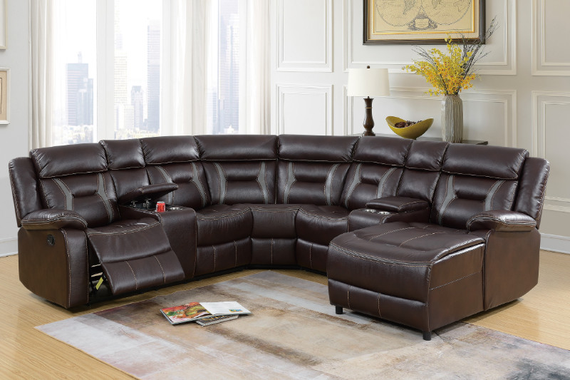 Poundex F6703 5 pc collette II collection dark brown bonded leather upholstered sectional sofa with chaise and recliners