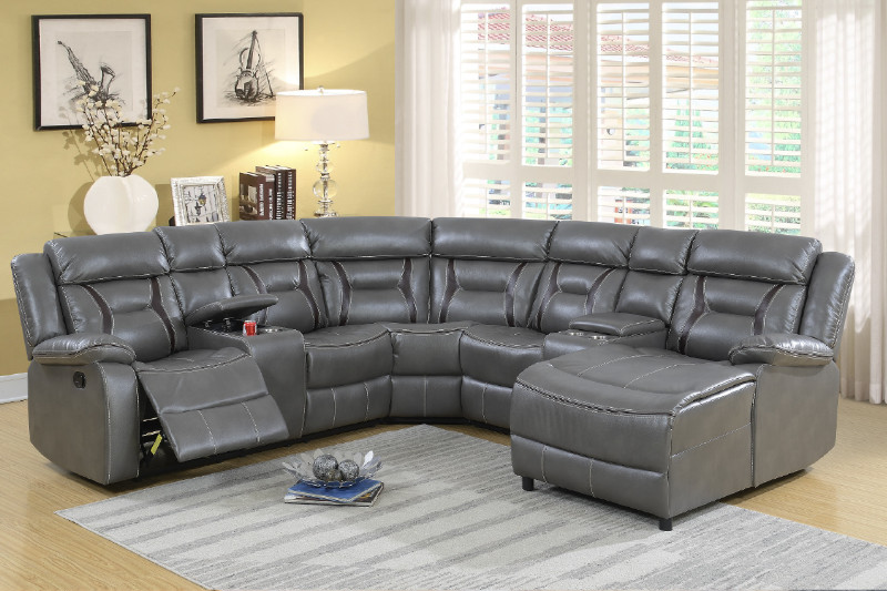 Astounding Poundex F6704 5 Pc Collette Ii Grey Gel Leatherette Sectional Sofa With Chaise And Recliners Caraccident5 Cool Chair Designs And Ideas Caraccident5Info
