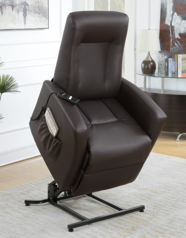 Poundex F6714 Mabel II espresso bonded leather power lift recliner chair